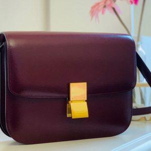 Replica Celine 189173 Medium Classic Bag in Burgundy box calfskin Leather