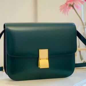Replica Celine 189173 Medium Classic Bag in Green box calfskin Leather
