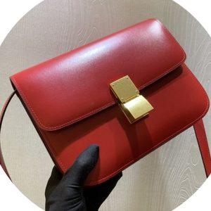 Replica Celine 189173 Medium Classic Bag in Red box calfskin Leather