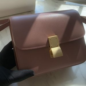 Replica Celine 192523 Teen Classic Bag in Pink box calfskin Leather