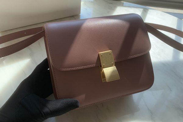 Replica Celine 192523 Teen Classic Bag in Pink box calfskin Leather