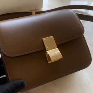 Replica Celine 192523 Teen Classic Bag in Apricot box calfskin Leather