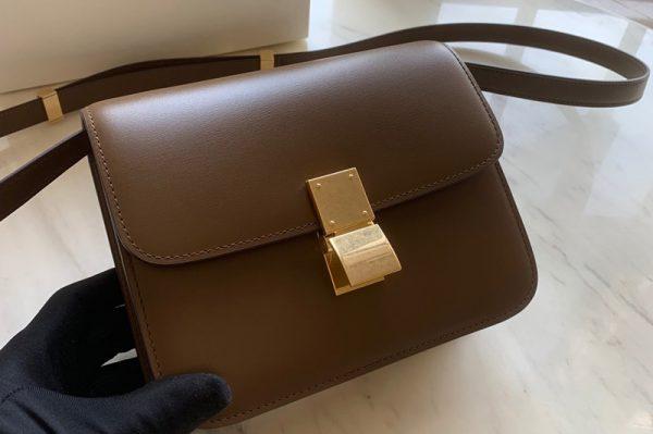 Replica Celine 192523 Teen Classic Bag in Apricot box calfskin Leather