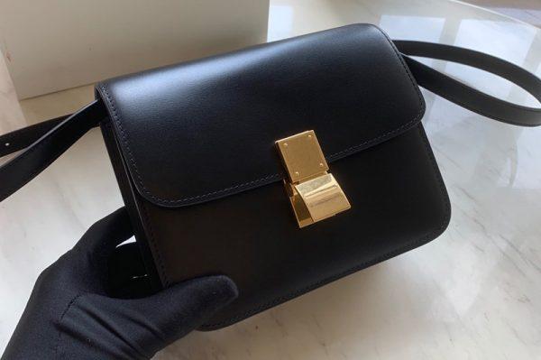 Replica Celine 192523 Teen Classic Bag in Black box calfskin Leather