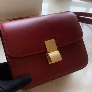 Replica Celine 192523 Teen Classic Bag in Red box calfskin Leather