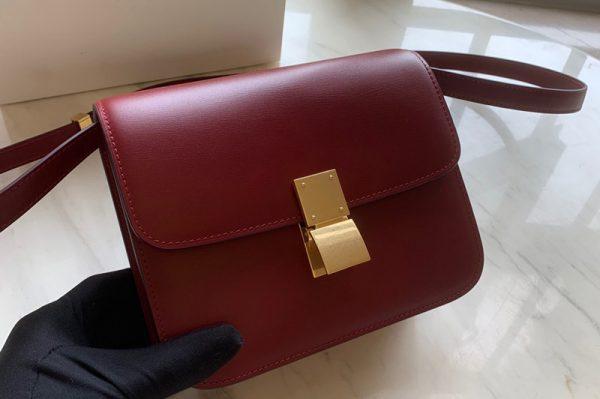 Replica Celine 192523 Teen Classic Bag in Red box calfskin Leather
