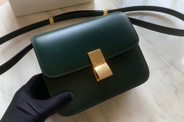 Replica Celine 192523 Teen Classic Bag in Green box calfskin Leather