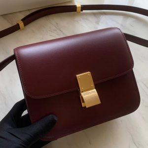 Replica Celine 192523 Teen Classic Bag in Burgundy box calfskin Leather