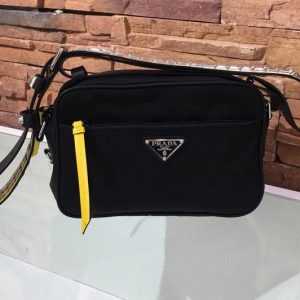 Replica Prada 1BC167 Black Nylon shoulder bag Nylon and calf leather
