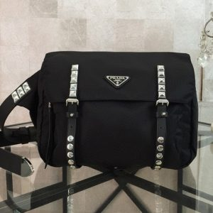 Replica Prada 1BL013 Black Belt Bag New Vela In Black Nylon With White Leather