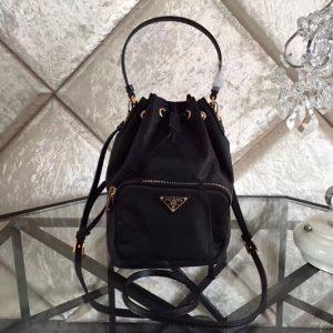 Replica Prada 1N1864 Tessuto Nylon Sling Bag in Black Nylon