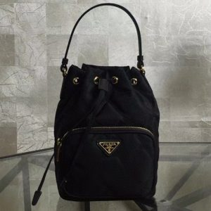 Replica Prada 1BH038 Duet fabric shoulder bag Black Nylon
