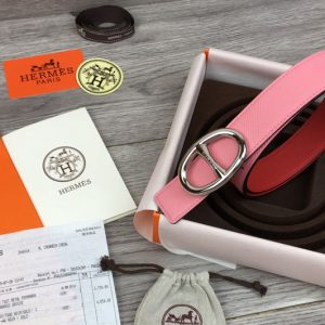 Replica Women's Hermes 32mm Chaine d'Ancre buckle Reversible leather belts Pink/Red Epsom Leather