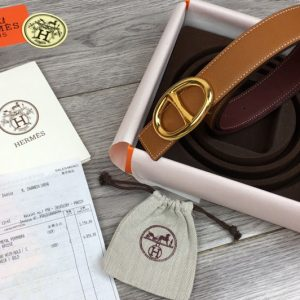 Replica Women's Hermes 32mm Chaine d'Ancre buckle Reversible Belts Brown/Bordeaux Epsom Leather