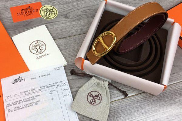 Replica Women's Hermes 32mm Chaine d'Ancre buckle Reversible Belts Brown/Bordeaux Epsom Leather
