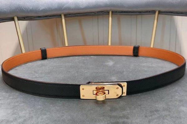 Replica Women's Hermes 17mm Kelly Buckle Leather belts in Black Epsom calfskin Leather