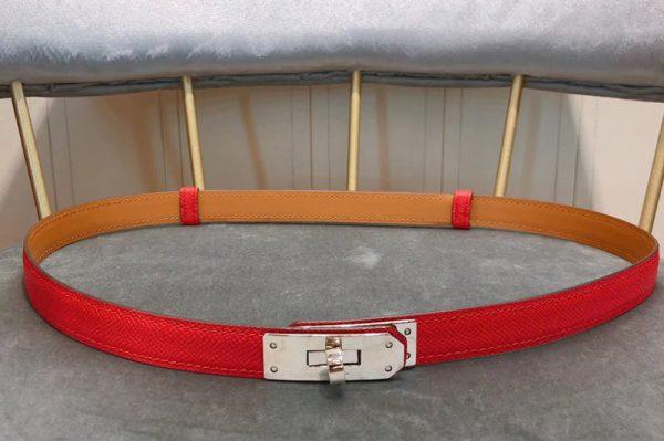Replica Women's Hermes 17mm Kelly Belts Silver Buckle in Red Epsom Leather