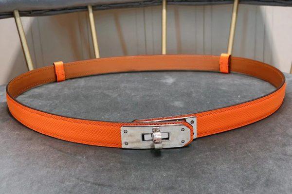 Replica Women's Hermes 17mm Kelly Belts Silver Buckle in Orange Epsom Leather