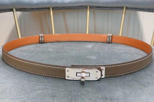 Replica Women's Hermes 17mm Kelly Belts Silver Buckle in Khaki Epsom Leather