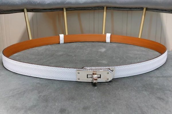 Replica Women's Hermes 17mm Kelly Belts Silver Buckle in White Epsom Leather