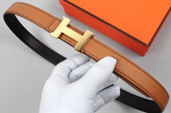 Replica Women's Hermes 25mm Constance Belts Gold Buckle in Tan/Black Epsom Leather