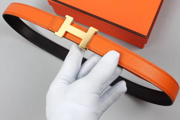 Replica Women's Hermes 25mm Constance Belts Silver Buckle in Orange/Black Epsom Leather
