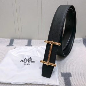 Replica Men's Hermes 38mm H d'Ancre Reversible belt Gold Buckle in Black Togo Leather