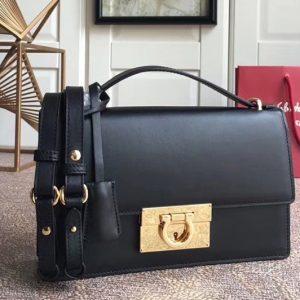 Replica Ferragamo 21E099 Aileen Bags in Black calfskin leather