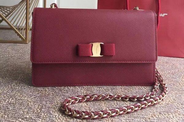 Replica Ferragamo 21E480 Ginny Bags in Bordeaux calfskin leather