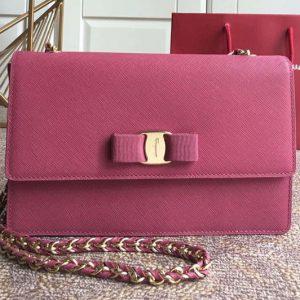 Replica Ferragamo 21E480 Ginny Bags in Rose calfskin leather