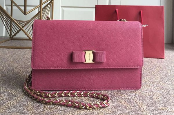 Replica Ferragamo 21E480 Ginny Bags in Rose calfskin leather