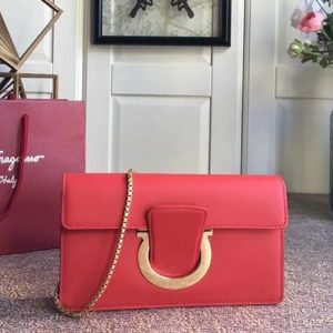 Replica Ferragamo 21F557 Small Gancini Bags With Front Flap Red Calfskin Leather