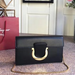 Replica Ferragamo 21F557 Small Gancini Bags With Front Flap Black Calfskin Leather