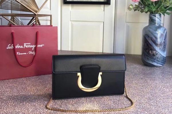 Replica Ferragamo 21F557 Small Gancini Bags With Front Flap Black Calfskin Leather
