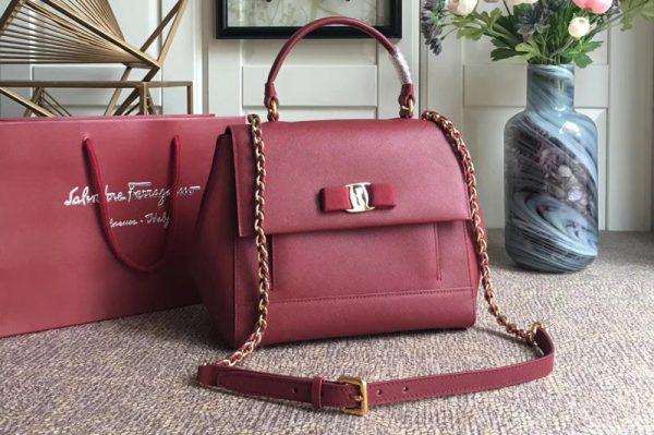 Replica Ferragamo 21F558 Carrie Top Handle Bags In Bordeaux Calfskin Leather