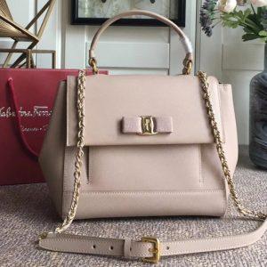 Replica Ferragamo 21F558 Carrie Top Handle Bags In Pink Calfskin Leather