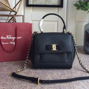 Replica Ferragamo 21F570 Carrie Nero Top Handle Handbags In Black Calfskin Leather