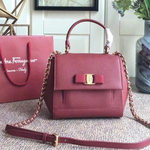 Replica Ferragamo 21F570 Carrie Nero Top Handle Handbags In Bordeaux Calfskin Leather