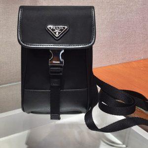 Replica Prada 2ZH109 Nylon and Saffiano leather mobile phone case with shoulder strap