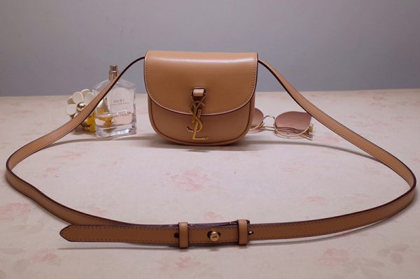 Replica Saint Laurent 623097 YSL Kaia Mini Satchel Bag in Brown Smooth Vintage Leather
