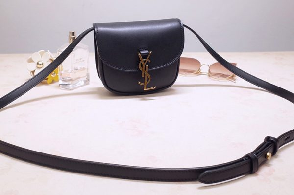 Replica Saint Laurent 623097 YSL Kaia Mini Satchel Bag in Black Smooth Vintage Leather