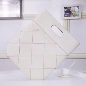 Replica Bottega Veneta 576169 Small Slip Tote Bags In Intreccio Linen And White French Calf Leather