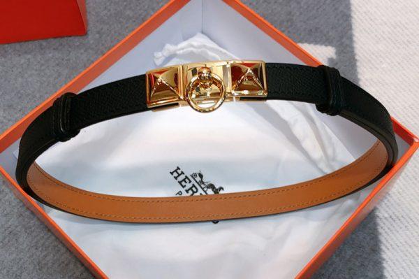 Replica Women's Hermes Rivale 18 belts 18mm Gold/Silver Buckle in Black Epsom Leather