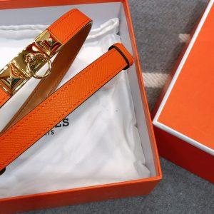 Replica Women's Hermes Rivale 18 belts 18mm Gold Buckle in Orange Epsom Leather
