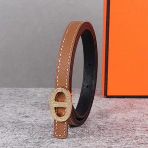 Replica Women's Hermes 13mm Mini Athena buckle Reversible belt in Brown Epsom Leather