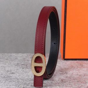 Replica Women's Hermes 13mm Mini Athena buckle Reversible belt in Bordeaux Epsom Leather