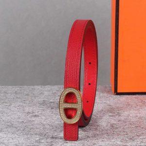 Replica Women's Hermes 13mm Mini Athena buckle Reversible belt in Red Epsom Leather