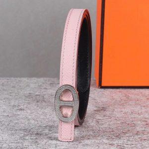 Replica Women's Hermes 13mm Mini Athena buckle Reversible belt in Pink Epsom Leather