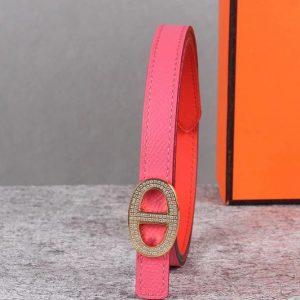Replica Women's Hermes 13mm Mini Athena buckle Reversible belt in Rose Epsom Leather