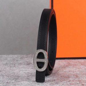 Replica Women's Hermes 13mm Mini Athena buckle Reversible belt in Black Epsom Leather